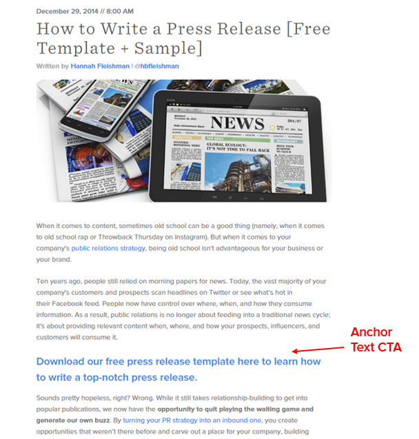 anchor text cta example to generate leads from blogs