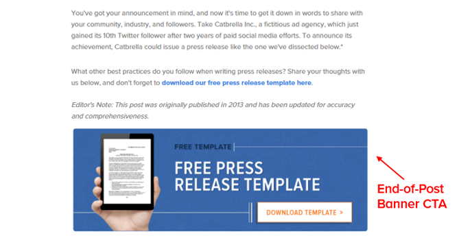 call-to-action example to generate leads from blogs